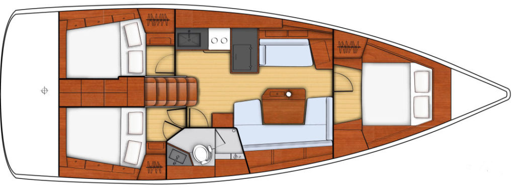 The three cabin with single head configuration.