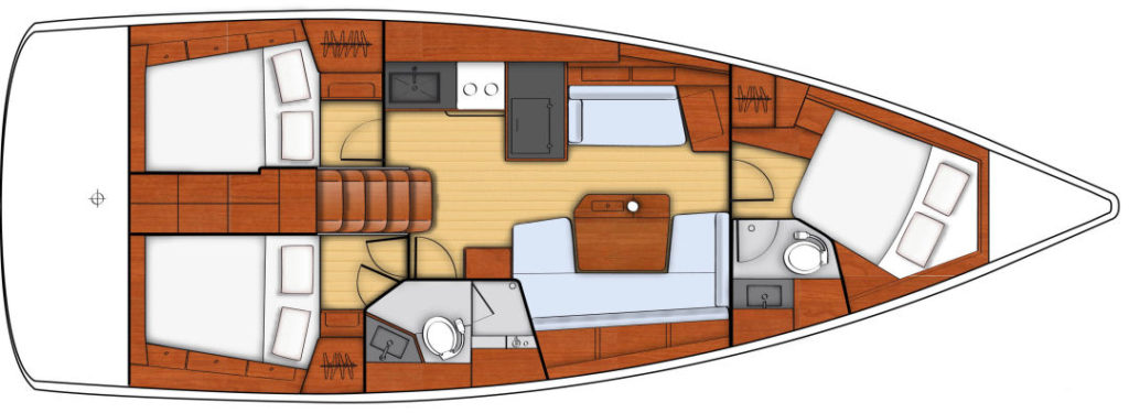 The three cabin with dual head configuration.