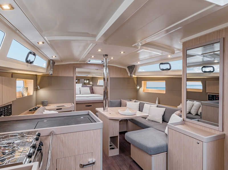 The salon of the Oceanis 41.1, featured in Blonde Oak.