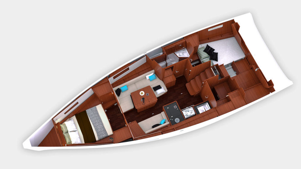 Plan view of the Oceanis 41.1 in the two stateroom, single head configuration.
