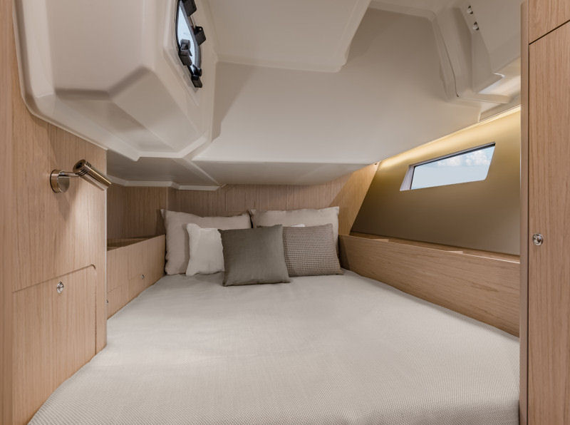 The port quarter berth. In the two cabin configuration, this is replaced by the storage locker in the two stateroom layout.