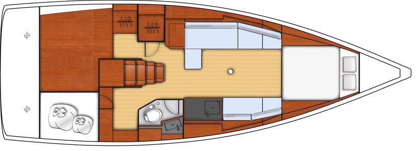 """Daysailer"" -- At the opposite end of layout choices, this version replaces the aft stateroom with storage or flexible space, eliminates the stall shower and abbreviates the galley. Her salon is designed for entertaining and plenty of bonhomie below after a sail or if it is raining."