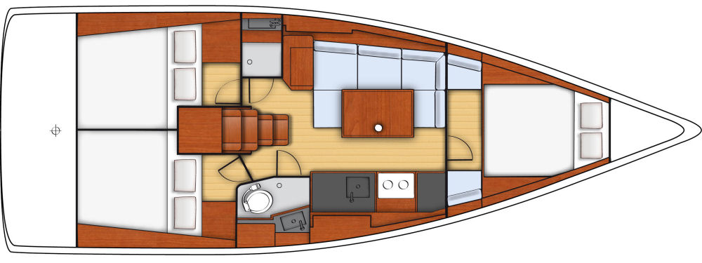 """Cruiser"" --This three-stateroom layout includes a full galley on the starboard side, and a u-shaped dinette to port, and amidships the head to starboard and an optional separate shower stall to port. With three cabins the boat is suitable for three couples, a family, or charter."