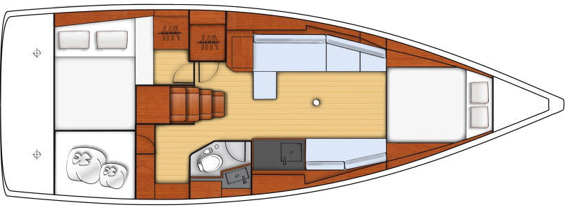 """Weekender"" -- With two staterooms both with beds the same size, the owner and VIP guest couple will have similar accommodations."